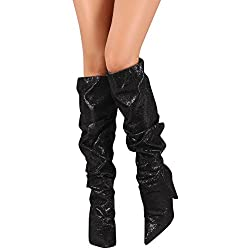 Women's High Heel Mid Calf Slouchy Boot