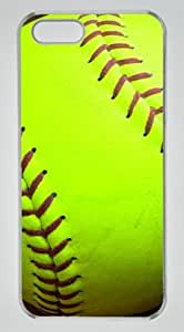 Yellow Softball DIY Hard Shell Transparent iphone 5/5s Case Perfect By Custom Service