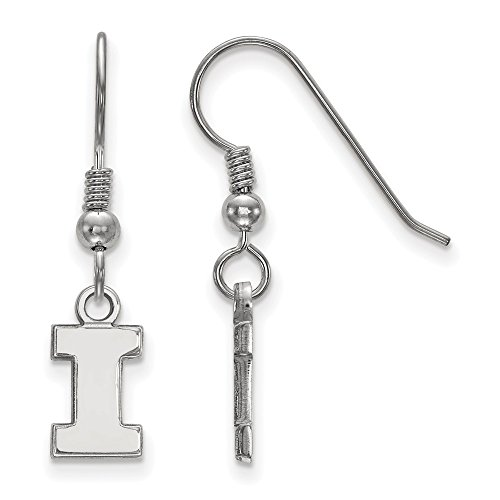 925 Sterling Silver Officially Licensed University College of Illinois Mini Small Dangle Wire Earrings (10 mm x 6 mm) by Mia's Collection