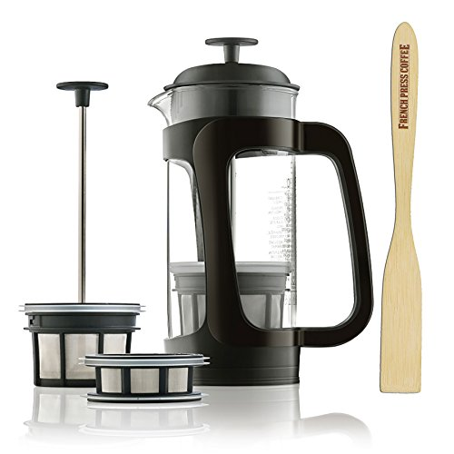 Espro P3, Glass French Press Coffee Maker 6-8 cups, 32 ounce Thick and Durable Glass Carafe, Coffee Micro-Filter, Bundle with Handcrafted Coffee Paddle, 1 tbs. Coffee Scoop