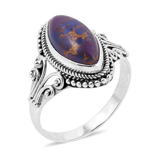 925 Sterling Silver Marquee Purple Turquoise Statement Ring for Women Southwest Style Jewelry Size 7 (Antique Scroll Ring)