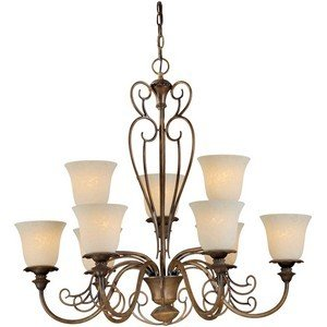 Forte Lighting 2491-09-41 9-Light Traditional Chandelier, Rustic Sienna Finish with Tapioca Glass