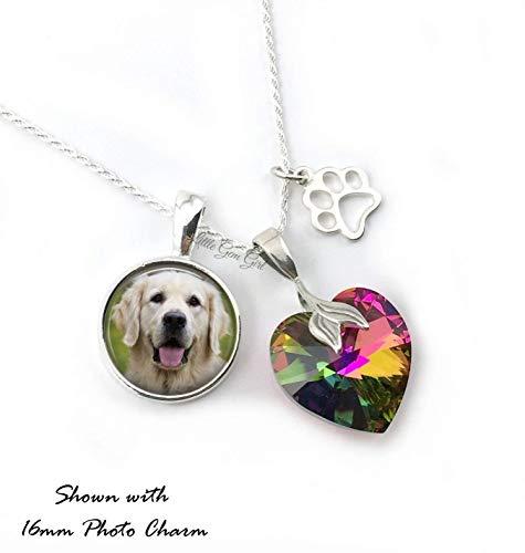 (Sterling Silver Custom Pet Photo Memorial Necklace Rainbow Bridge Heart Sterling Paw Print Charm)