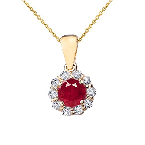 18k Ruby Necklace (Dainty 14k Yellow Gold Diamond Floral Center Stone Ruby Pendant Necklace, 20