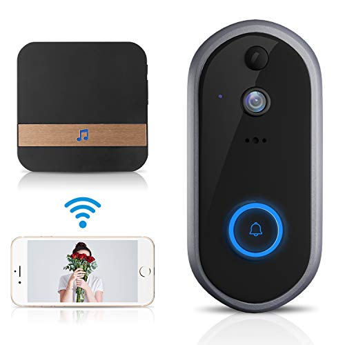 GJT 2018 New Smart Video Doorbell Wireless Home Security Camera with Chime, 8G SD Card, Free Cloud Service, 2 Batteries, 2-Way Talk 720P, Night Vision, PIR Detection, APP Control for iOS and Android
