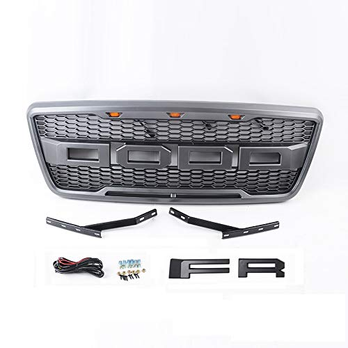 ZGAUTO Ford F150 Grille with Amber LED Light and Conversion Letter (F&R) Fits for 2004-2008
