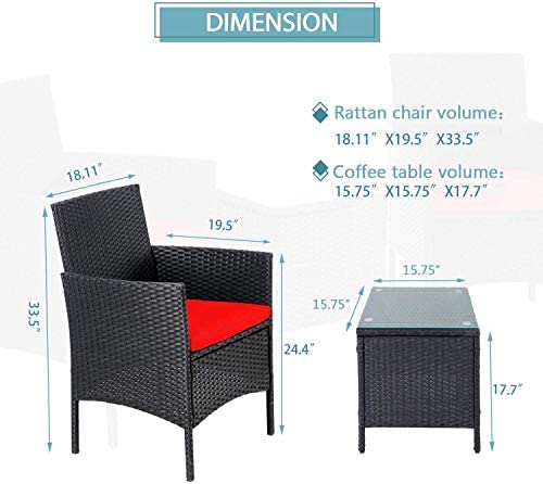 41U6W7STpfL. AC SUNCROWN 3-Piece Patio Bistro Set, Outdoor Black Wicker Chairs, Patio Furniture Set with Glass Table, Red Cushion    From the brand