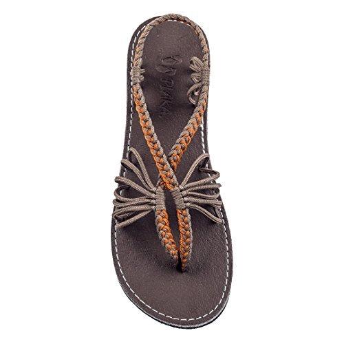 (Plaka Flat Summer Sandals for Women Orange Gray 9 Seashell)