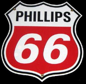 White Phillips 66 Porcelain Sign