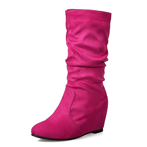 Ziehen Absatz Allhqfashion Stiefel Material Weiches Rund Zehe Rein Auf Damen Rot Hoher