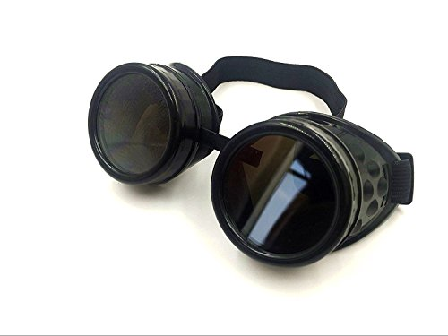 Wocst New Sell Vintage Steampunk Goggles Glasses Welding Cyber Punk Gothic (Black)