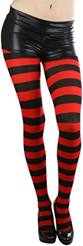 ToBeInStyle Women's Full Footed Wide Striped Tights - Black And Red ()