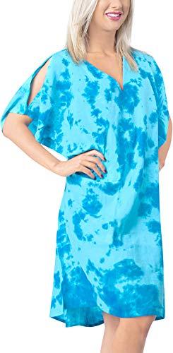 (LA LEELA Women's Tie Dye Beach Bikini Cover up Blue_X828 OSFM 18-20W [XL-2X])