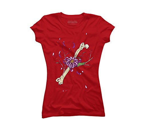 Flower bone Juniors' X-Large Red Graphic T Shirt - Design By Humans