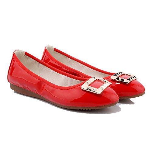 VogueZone009 Damen Ziehen auf PU Leder Rund Zehe Ohne Absatz Eingelegt Flache Schuhe Rot