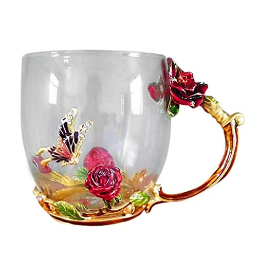 ( Orcbee  _Handmade Crystal Enamel Butterfly Tea Cup Coffee Mug Glass Enamel & Box Gift (Red))