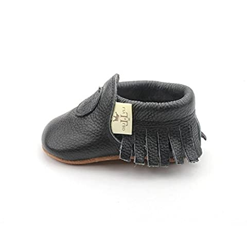 Liv & Leo Baby Boys Girls Moccasins Soft Sole Crib Shoes Slip-on Leather (0-6 Months, Black) - Leather Baby Moccasins
