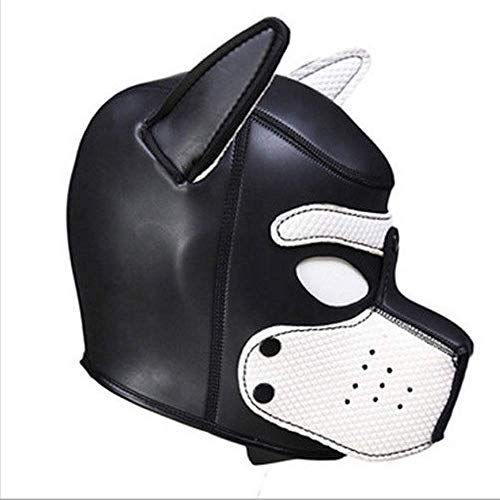Feefine Sexy Cosplay Puppy Mask,Neoprene Puppy Hood Custom Animal Head Mask Novelty Costume Dog Head Masks for Sexy Cosplay Role Play (white) ()