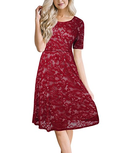 LNIMIKIY Red Lace Dresses For Women, Spring Scoop Neck Rose Embroidery Lace Dress (Style Semi Spring)