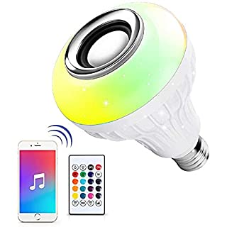 LED Light Bulb Bluetooth Speaker, 6W E26 RGB Changing Lamp Wireless Stereo Audio with 24 Keys Remote Control