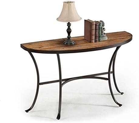 Emerald Home Berkeley Rustic Wood Sofa Table with Half Oval Top And Metal Base