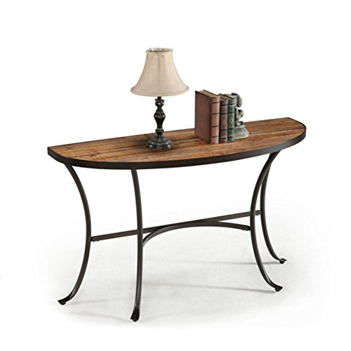 Emerald Home Berkeley Rustic Wood Sofa Table with Half Oval Top And Metal Base Review