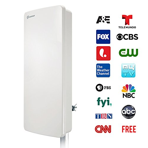 TV Antenna, ANTOP Outdoor / Indoor Digital Smartpass Amplifier HDTV Antenna 80 Miles Multi-Directional VHF/UHF High Gain Reception with Tools-Free Installation and 40ft High Performance Coaxial (Wall Mount Coax)