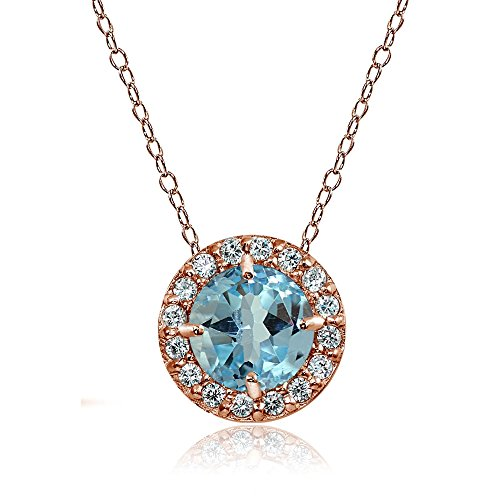 Womens Cubic Zirconia Accent - Rose Gold Flashed Sterling Silver Blue Topaz and Cubic Zirconia Accents Round Halo Necklace