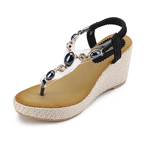 MYTANG Womens Middle Wedge Heel Summer Shoes Flip Sandals (8, black)