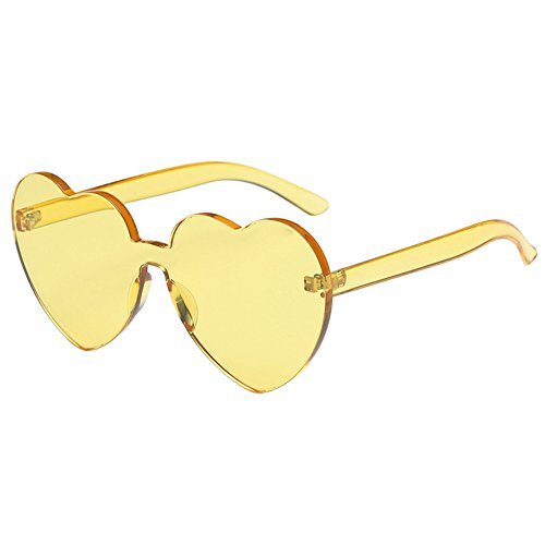 soleil Plastique UV400 Mode Lunettes Jaune Protection Lunettes Cadre Heart Xinvision Candy 5cm Rimless Spectacles Lens 4 de 5 couleur Unique 14 Clear shaped Lentille 14 UV dOx0wTqX