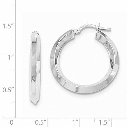 14K White Gold Beveled Tube Hoop Earrings (1.1IN Long)