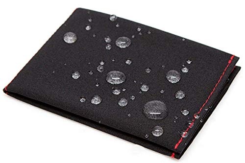 SlimFold Minimalist Wallet - Thin, Durable, and Waterproof Guaranteed - Made in USA - MICRO Size Black with Red Stitching