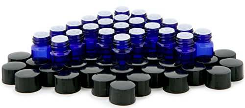 Vivaplex, 24, Cobalt Blue, 1 ml (1/4 Dram) Glass Bottles, with Orifice Reducers and Black Caps (1ml Bottle)