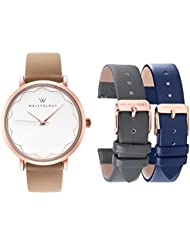 WRISTOLOGY Olivia Womens Rose Gold Scallop Watch Set 3 Straps Charcoal Grey, Brown Navy Blue Leather Bands