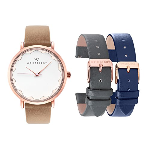(WRISTOLOGY Olivia Womens Rose Gold Scallop Watch Set 3 Straps Charcoal Grey, Brown Navy Blue Leather Bands)