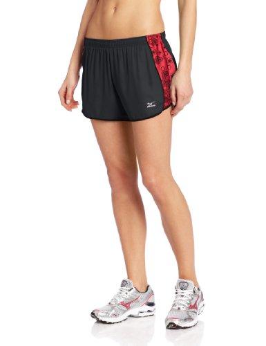 Mizuno Running Women's DryLite Mustang Shorts, Grey/Rouge Red, ()