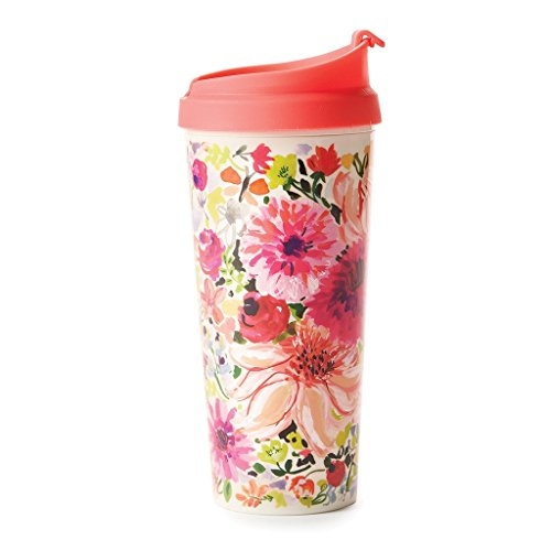 Kate Spade New York Women's Insulated Thermal Travel Mug Tumbler, 16oz, Dahlia