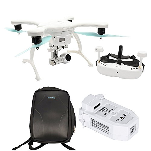 EHang GhostDrone 2.0 VR iOS - White/Blue 1 Year Crash Coverage Included Pro Bundle with Extra Battery and Ghost Custom Backpack