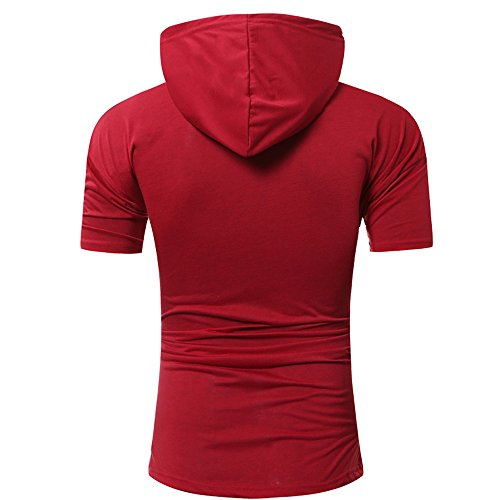 9bf60543d3 OrchidAmor 2019 T Shirt, Men's Summer Fashion Hooded Pullover Short Sleeve  Blouse Camis Tanks Red