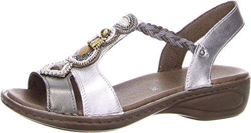 ara 37275–28–metálico peltre/plata sandalia con correas de goma