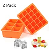 Ice Cube Tray, 2 Pack Silicone Ice Cube Molds 6+20 Large & Small Square Ice Cubes BPA Free Nontoxic Ice Cube,Flexible and Easy Release Orange