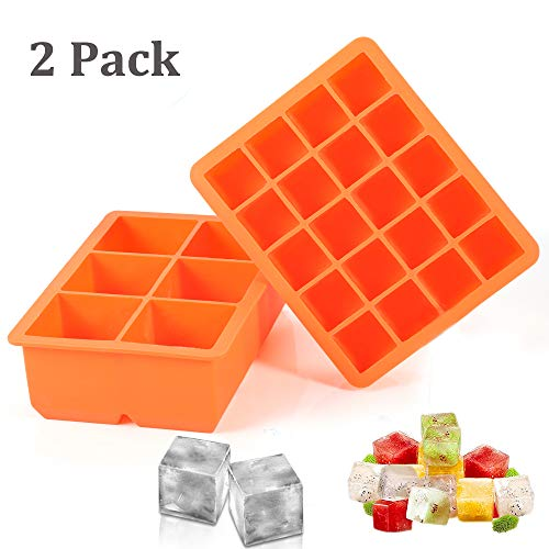 Ice Cube Tray, 2 Pack Silicone Ice Cube Molds 6+20 Large & Small Square Ice Cubes BPA Free Nontoxic Ice Cube,Flexible and Easy Release Orange (Ice Cube Square)