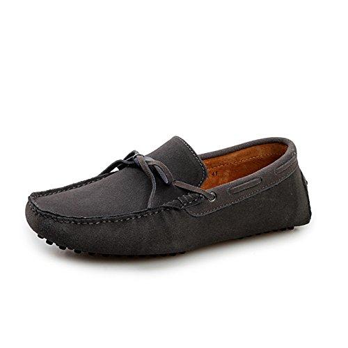 Minitoo Men'neuen Knoten Suede Boat Shoes Slipper Penny Fahren, Dunkelgrau, 39.5 EU