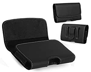 Horizontal Leather Belt Clip Case Cover Pouch Holster For Nokia Lumia 635 Compatible With Mophie Juice Pack On it -Sold by MechSoft Tech