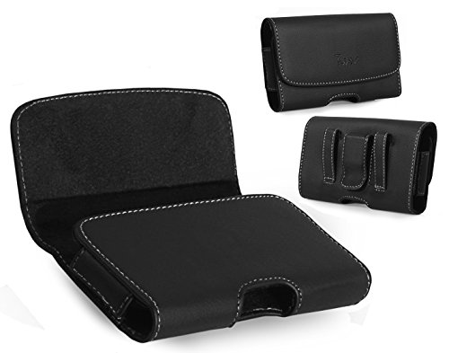 Leather Horizontal Belt Clip Case Pouch Holster for UTStarcom CDM-8630 Coupe Verizon Wireless Coupe, CDM8630 [PERFECT FITS WITH LIFEPROOF ON IT ] - Utstarcom Cdm 8630 Coupe
