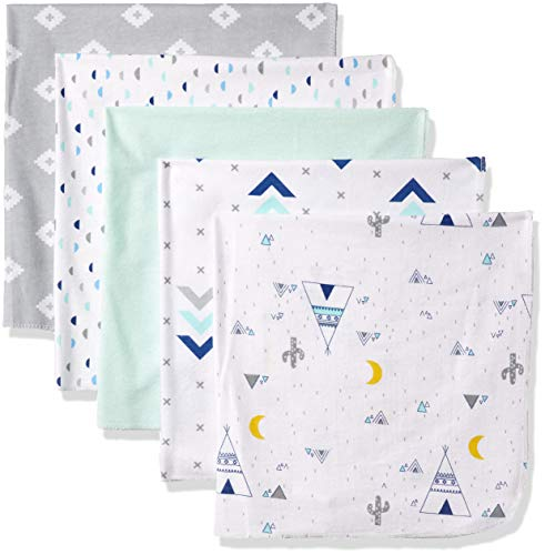 Baby Blanket Swaddling Flannel (Rene Rofe Baby Newborn 5 Pack Super Soft Flannel Blankets, Mint/Gray, One Size)