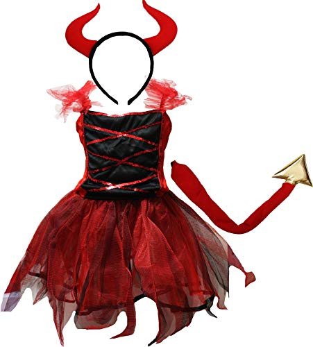 Petitebella Halloween Costume Dress 2-12y (7-9 Years, Red Devil)