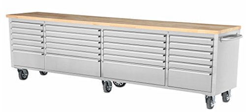 mobil-tool-chest-workbench-stainless-steel-cart-96-inch-l-24-lined-drawers-wood-working-top-six-cast