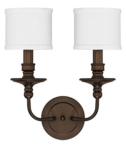 Burnished Bronze 2 Light 17in. Tall Wall Sconce with White Fabric Shade from The Midtown Collection