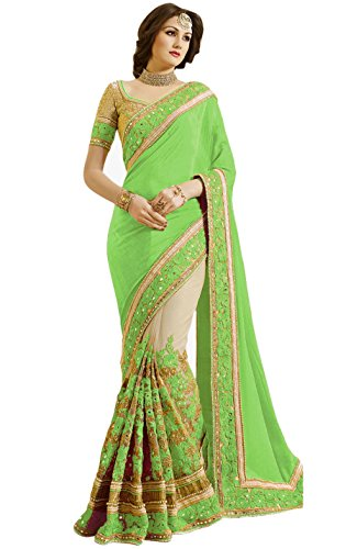 Nivah Fashion Women's Satin & Net Half & Half Embroidery work With Real Diamond's Material Saree K663(Parrot)